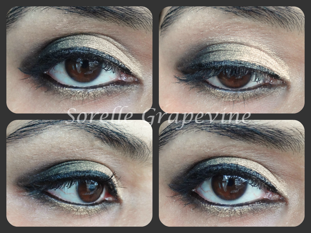 Black and Soft Gold Eye Makeup Look